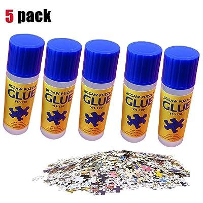 Running Pet 5 Pack Jigsaw Puzzle Glue with Trowel Applicator,Liquid Glue for 500, 1000pcs 2000 pcs Paper Puzzle, Office Glue Puzzle Glue Liquid Transparent Gel: Toys & Games