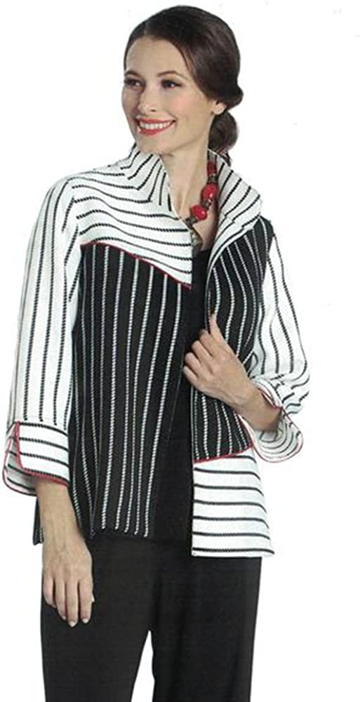 IC Collection Striped Short Open Jacket 1125J