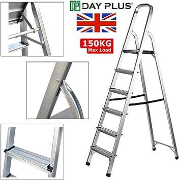 Escalera de 6 peldaños, antideslizante, escaleras de seguridad plegables, de aluminio ligero para el hogar, cocina, hotel, 150 kg de capacidad: Amazon.es: Bricolaje y herramientas