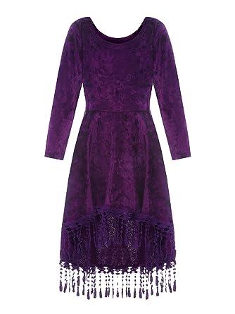 56720c3f72e2 Amazon.com  Syktkmx Girls Long Sleeve Empire Waist Pleated Swing ...