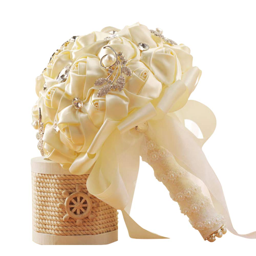 5d23ca4aa7a26 DENTRUN Wedding Bouquet Bridesmaid Bridal Artificial Holding Flowers,  Crystal Soft Ribbons Wedding, Party,Valentine's Day Church, Satin Bouquets  ...
