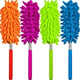 Hestya Dusting Brush with Extendable Telescoping Pole, Microfiber Hand Duster Brush for Home, Office, Car Interior and Exterior Use (Pack of 4)