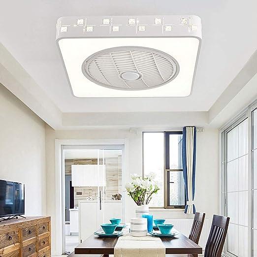 RJW Luz purificador de Aire Ventilador Luz Habitación Minimalista Moderna for niños Lámpara de Techo Ajuste de Control Remoto Cuadrado, Fuente de luz LED.Tamaño: 55 x 55 cm. Creativo: Amazon.es: Hogar