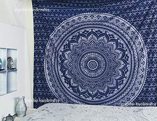 Kings Hanging - Popular Handicrafts King Size Tapestries Hippie Mandala Wall Hanging Tapestries Wall Tapestries Mandala Tapestries Tapestry Wall Hanging Ombre Mandala Tapestries Boho Tapestries Blue Silver