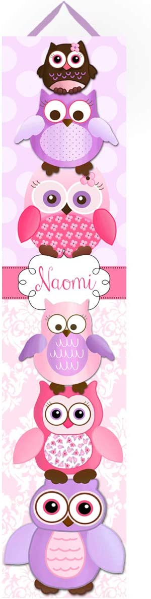 Personalized Kids Canvas Growth Chart Purple and Pink Stacked up Owl Friends Damask Baby Girls Nursery Canvas Growth Chart GC0155