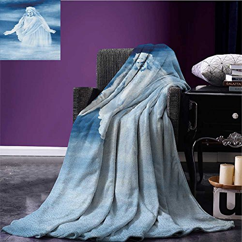 Blue and White picnic blanket Ethereal Composition Above the Clouds Sacred Theme Inspirational Print soft throw blanket Dark Blue White size:59