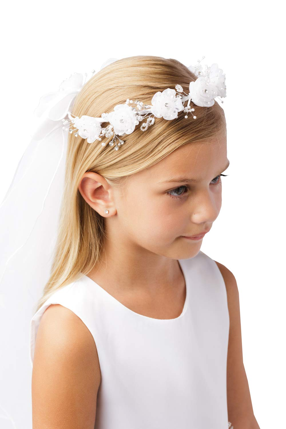 Girls White Pearl Rhinestone Center Floral Crown First Communion Flower Girl Head Wreath with Veil #779