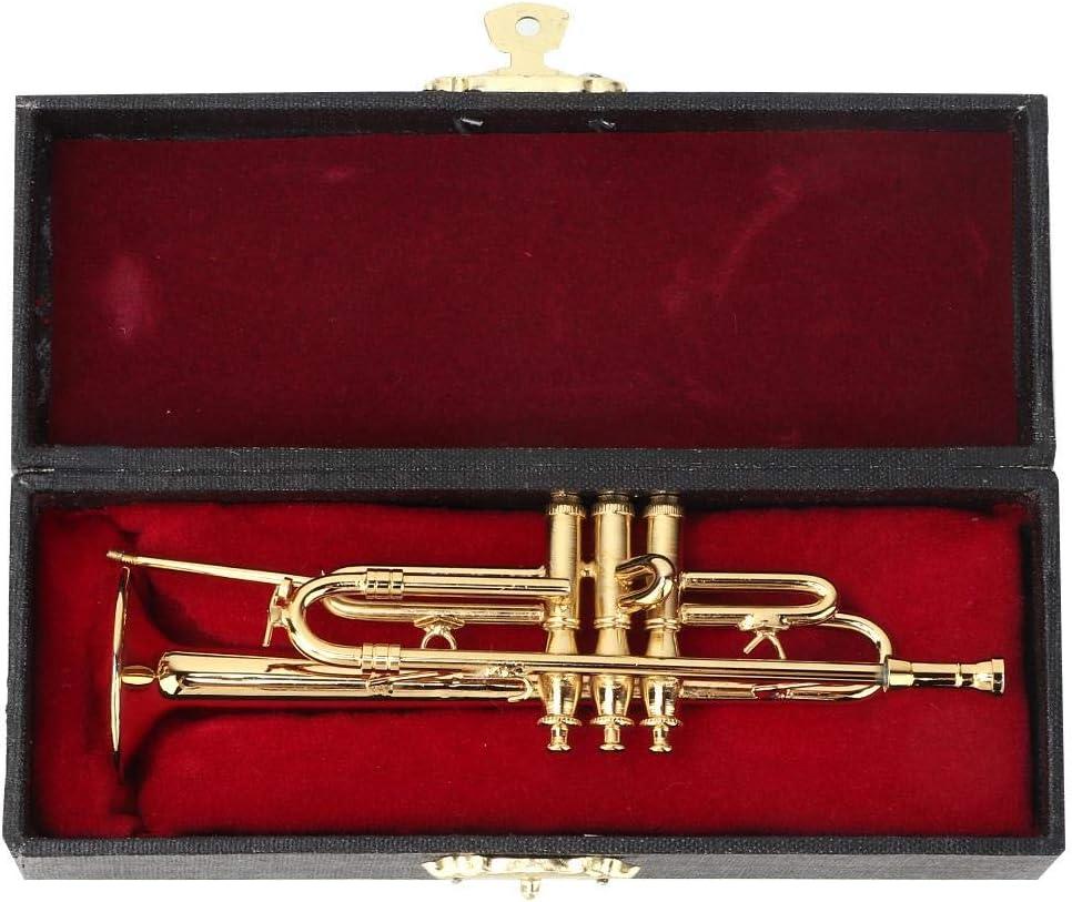 HEEPDD Miniature Trumpet Model, Delicated Golden Mini Trumpet Mini Instrument Ornament Decoration Home Decor Ornaments for Music Lover