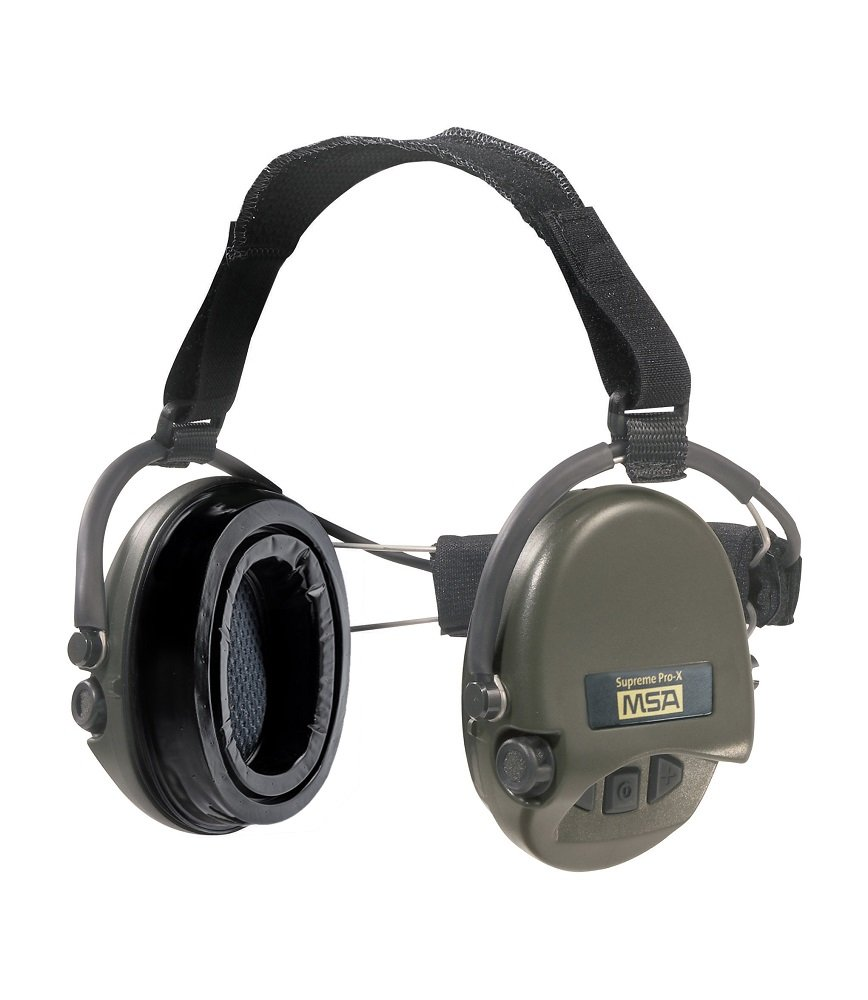 MSA Sordin Supreme Pro X with green cups - Neckband - Electronic Earmuff equipped with comfortable ear-seals, slim-design by Sordin