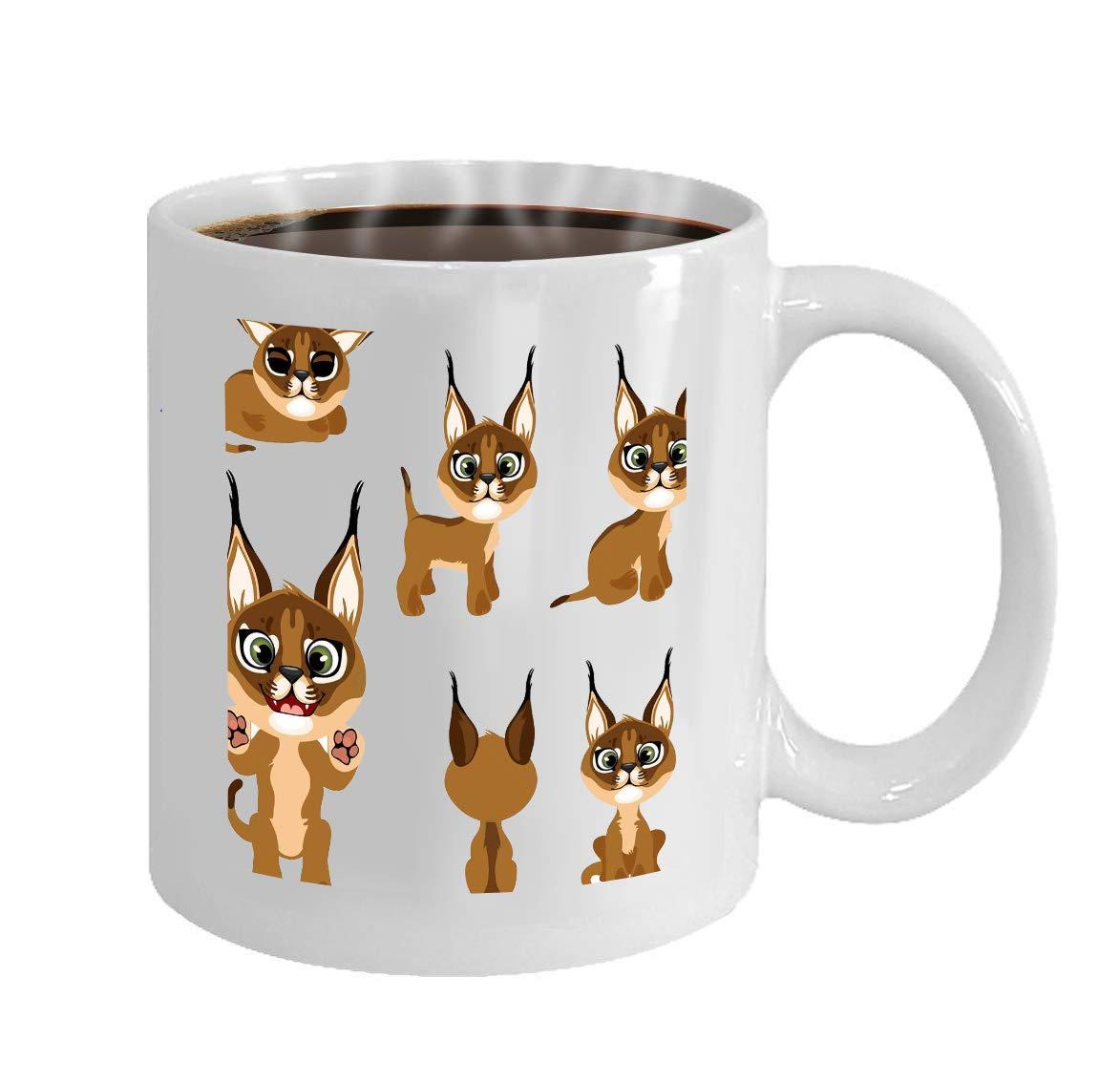 11 Ounces Funny Coffee Mug cartoon brown kitten lynx different ...