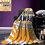 smallbeefly Adventure Throw Blanket Commercial Airplane with Rising Sun Adventure Quote Aviation Journey Print Warm Microfiber All Season Blanket for Bed or Couch Navy Blue Orange