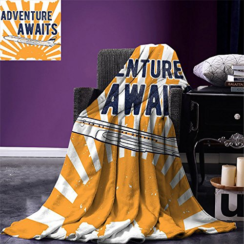 smallbeefly Adventure Throw Blanket Commercial Airplane with Rising Sun Adventure Quote Aviation Journey Print Warm Microfiber All Season Blanket for Bed or Couch Navy Blue Orange by smallbeefly
