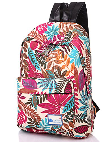 Leaper Casual Style School backpack Laptop Backpack with Leaf Pattern (Pink)