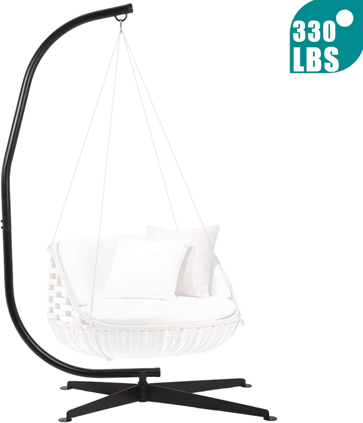 Her Majesty Hammock Chair Stands Hanging Hammock Chair C Stand Only Hanging Chair Outdoor Indoor Solid Steel Heavy Duty Construction for Hammock Air Porch Swing Chair