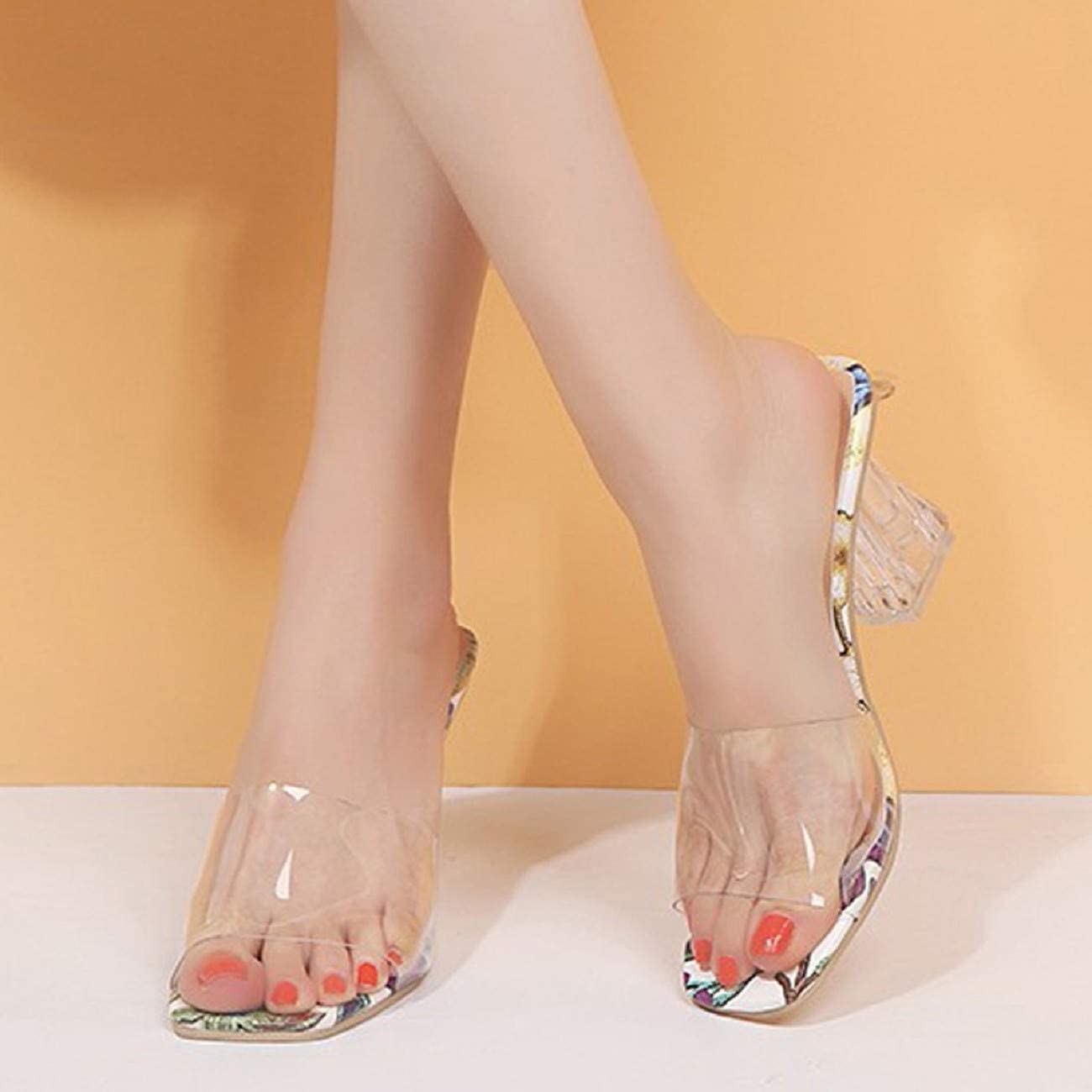 Tsmile Womens Floral Print Sandals Fashion See Through White Summer Open Toe Shoes Casual High-Heeled Slipper