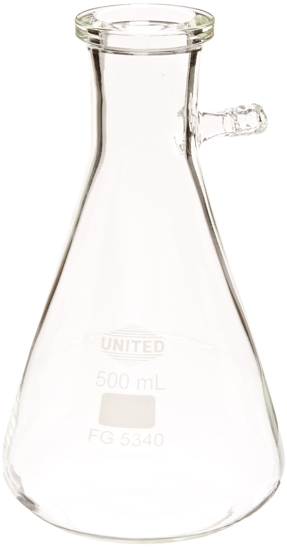 United Scientific FG5340-500 Borosilicate Glass Heavy Wall Filtering Flask, Bolt Neck with Tubulation, 500ml Capacity by United Scientific Supplies