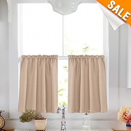 Genial Lazzzy Half Window Curtains For Kitchen 24u0026quot; Water Proof Tier Curtains  For Bathroom Taupe