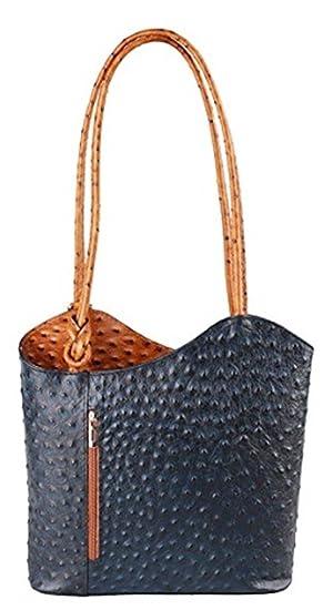 cec4fdcf87 Handbag Bliss Italian Leather Ostrich Print Shoulder Bag Handbag Backpack  Rucksack (Navy Blue   Tan)  Amazon.co.uk  Clothing