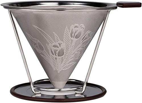 Pour Over Coffee Dripper,Stainless Steel Coffee Filter Can be Removable Dripper With Stand,Reusable Cone Dripper