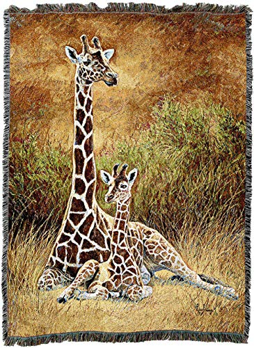 Pure Country Weavers - Mother and Son Giraffe Woven Tapestry Throw Blanket with Fringe Cotton USA 72x54