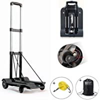 【Versión actualizada】 Carretillas de mano plegable 70Kg, ROYI Carretilla de transporte 4 ruedas con un cordón elástico y una bolsa negra