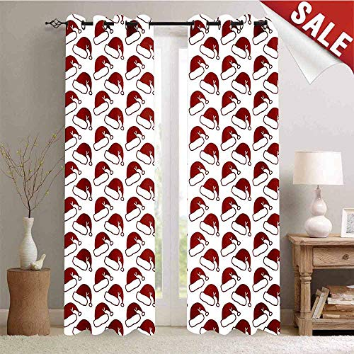 Hengshu Blackout Window Curtain Santa Hat Pattern Symbols of Winter Season Sledge Ornamental Design Doodle Style Customized Curtains W72 x L96 Inch Ruby White