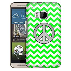 HTC One M9 Case, Slim Snap On Cover Peace on Chevron Zig Zag Green White Case