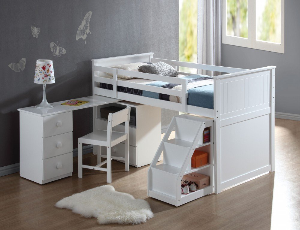 1PerfectChoice Children's White Wood Pull Out Desk Stairway Staircase Chest Low Twin Loft Bed