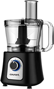 Courant 12 Cup Food Processor, Includes 3 Blades, Chop, Shred, Grate, Slice or Mix also includes a Kugel Blade, Black