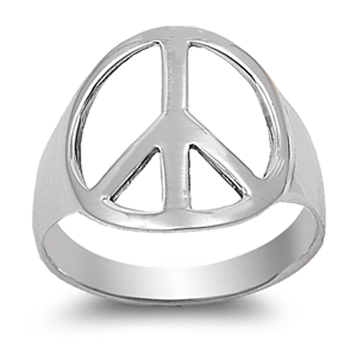 Amazon.com  Prime Jewelry Collection Sterling Silver Women s Cutout Peace  Sign Ring (Sizes 4-15)  Jewelry d62df397c2