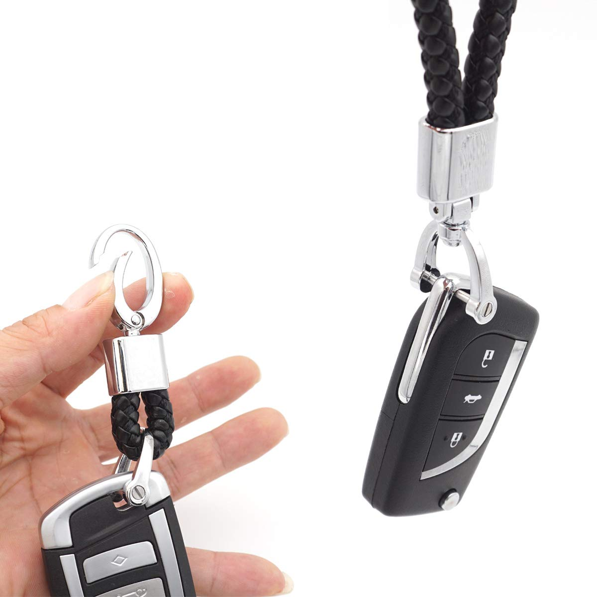 Silver+Black TM Royalfox 2 Pack Keychain Detachable Loop Ring Car Key Fob Chain for Men Women Fit VW Honda Mercedes Benz BMW Ford Audi Nissan Infiniti Toyota Jeep Dodge Cadillac Lexus