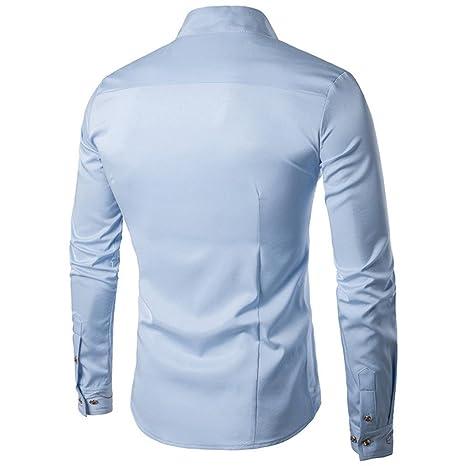 Sunhusing Men Casual Slanting Irregular Stand Collar Embroidered Button Long Sleeve Shirt at Amazon Mens Clothing store: