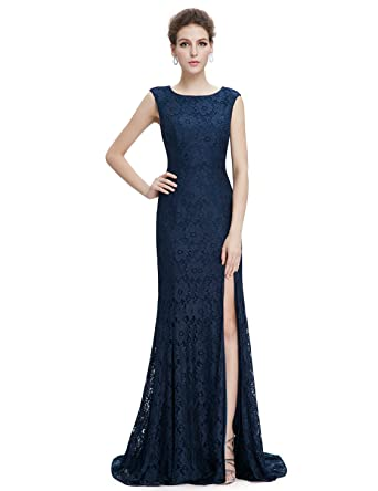 Ever-Pretty Women Sexy Round Neck Formal Evening Dresses 14 US Navy Blue