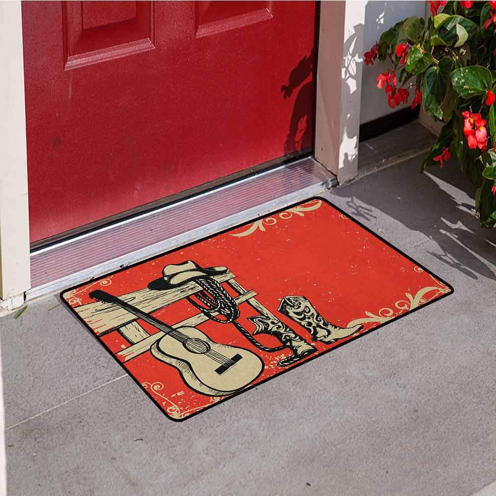 Western Commercial Grade Entrance mat Image of Wild West Elements with Country Music Guitar and Cowboy Boots Retro Art for entrances garages patios W31.5 x L47.2 Inch Beige Orange by RelaxBear