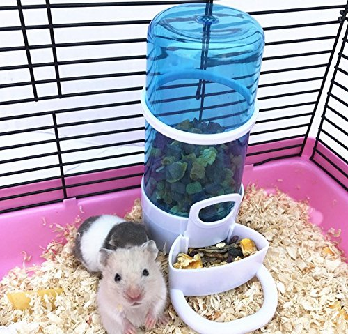 Old Tjikko Automatic Pet Feeder Waterer,Bird Hamster Small Animal Feeder, Automatic Feeding Device Water Dispenser for Hamster Bird Pigeon Parrots Mini Hedgehog with Holder (5.90x2.83x6.10in)