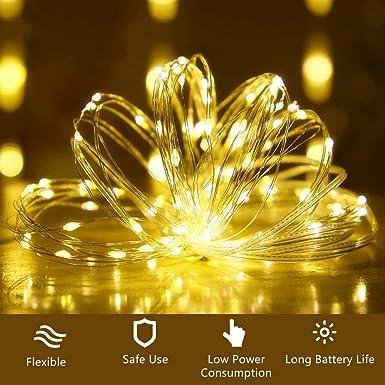 LED Lichterkette Batterie Party DIY. 20 St/ück 2M 20LED Micro Batterie-betrieben Kupfer Drahtlichterkette Warmwei/ß Weihnachtsbeleuchtung f/ür Zimmer Au/ßen Hochzeit Innen Weihnachten