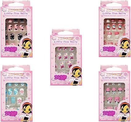 Lurrose 120 piezas de uñas postizas para niños uñas de dibujos ...