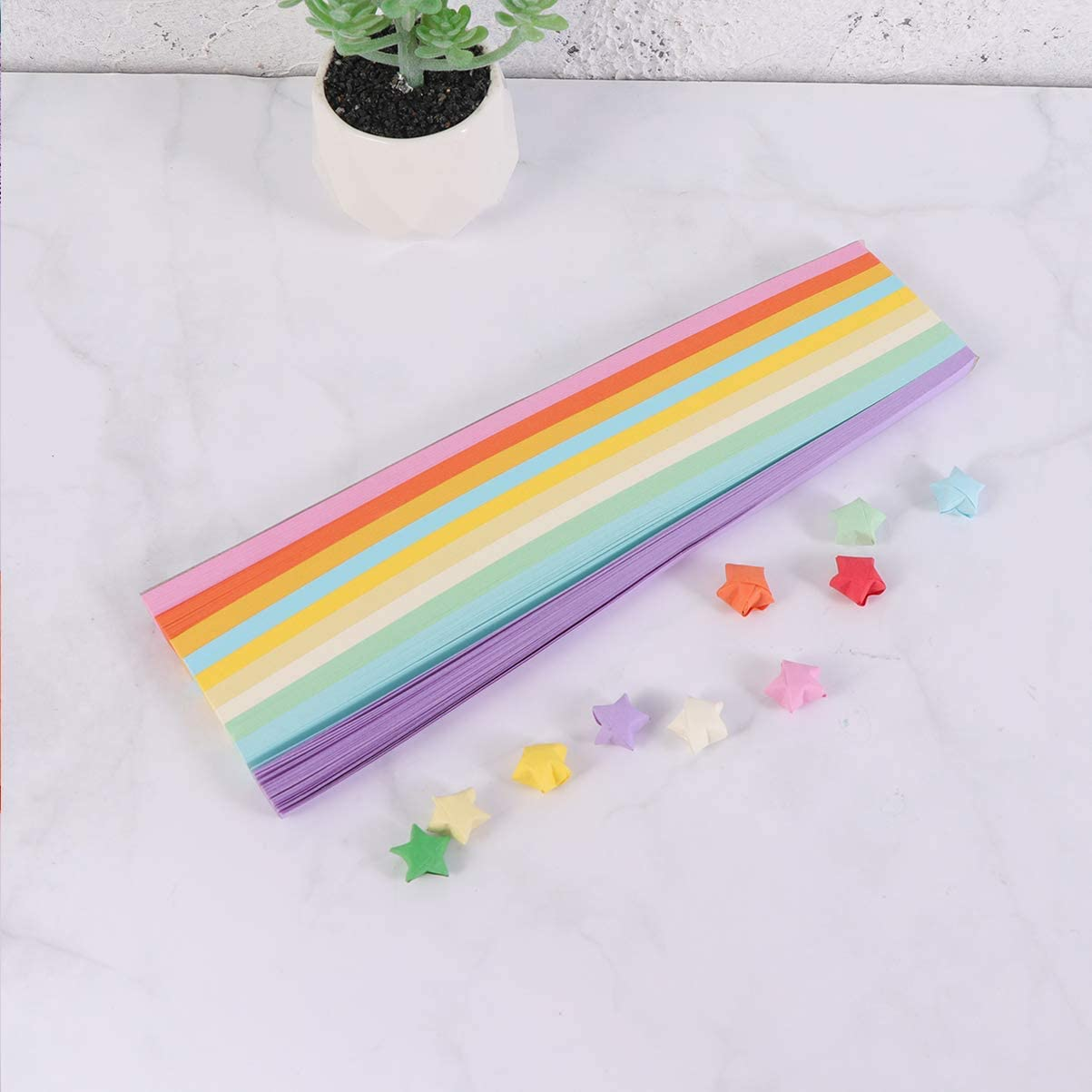STOBOK 540Pcs Origami Stars Papers Handcraft Lucky Star Paper Strips Colorful Paper Craft for Children Kids Party Decoration Light Color