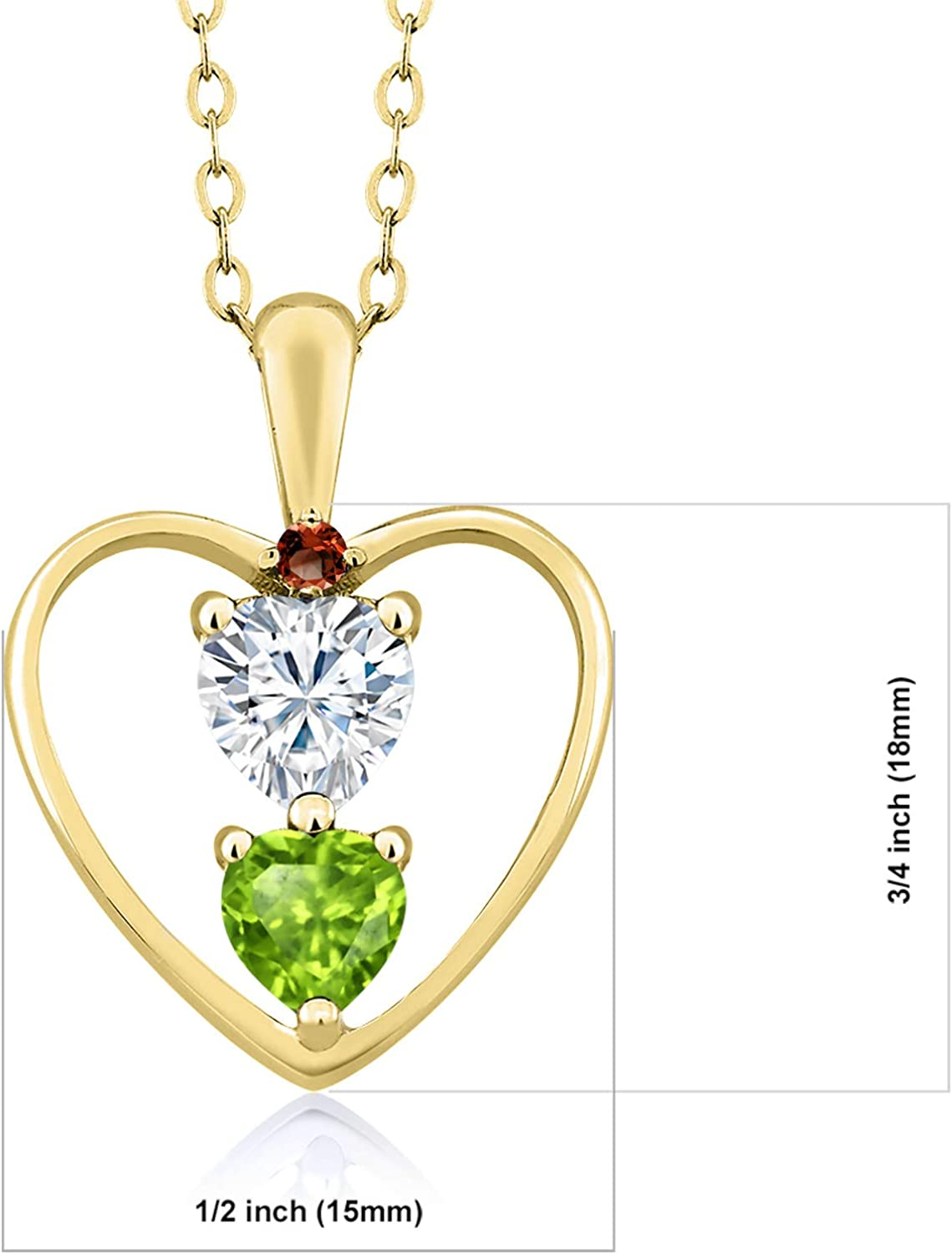 Created Moissanite by Charles /& Colvard and Peridot Heart Shape 0.50ct DEW 18K Yellow Gold Plated Silver Pendant Forever Brilliant GHI