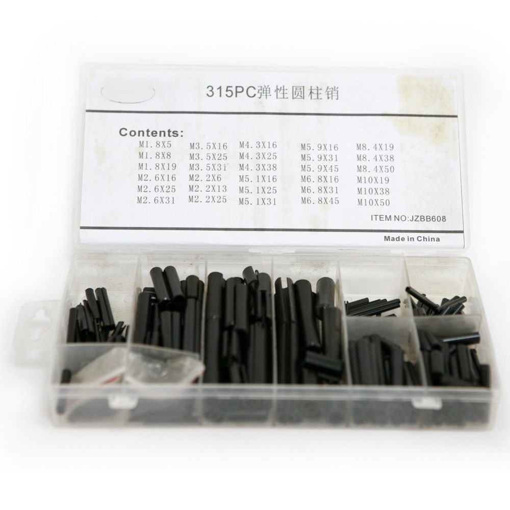 CSLU 315PCS Hardware Carbon Steel Split Spring Steel Dowel Roll Pin Assorted Set