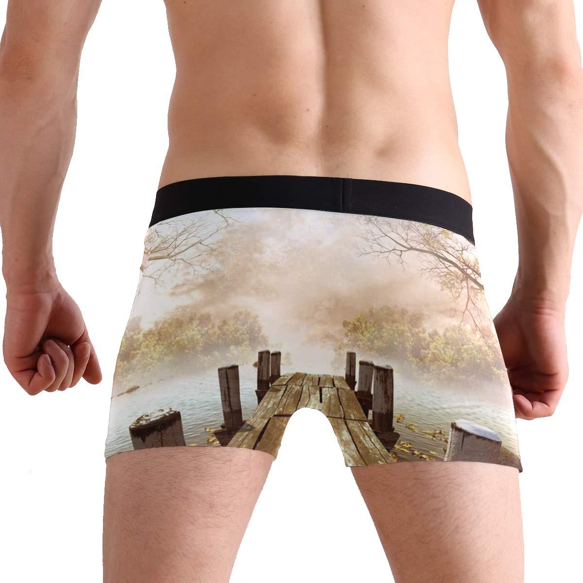 Mens Boxer Briefs Stretch Breathable Trunks Low Rise Ocean Decor Fall Wooden Bridge Seasons Lake House Underwear for Men Boys