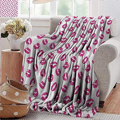 PearlRolan Throw Blanket,Kiss,Vibrant Colored Lipstick Kiss Print Smooch Abstract Hot Pink Grungy Look Feminine,Fuchsia White,Sofa Super Soft, Plush, Fuzzy Microfiber Throw Reversible,Comfy 35