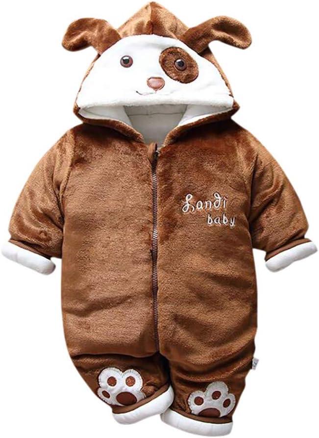Shan-S Infant Newborn Toddler Baby Boys Girls 3D Cartoon Animal Ear Hooded Romper Jumpsuit Bodysuit Thick Velvet Plus Warm Sleepwear Pajamas Clothes Outfits
