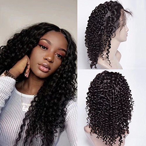 Maxine Hair Deep Curly Wave Human Hair Glueless Lace Front Wigs 130% Density Brazilian Virgin Remy Wigs with Adjustable Straps For Black Woman 14 inch Natural Color