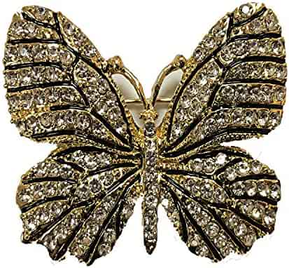 ee87312f5 ZUOZUOYA Vintage Winged Butterfly Brooch - Crystal Rhinestones Cute Animal  Pin with Gold Tone - Great