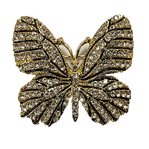 (ZUOZUOYA Vintage Winged Butterfly Brooch - Crystal Rhinestones Cute Animal Pin with Gold Tone - Great for Wife,Sisters and Friends)