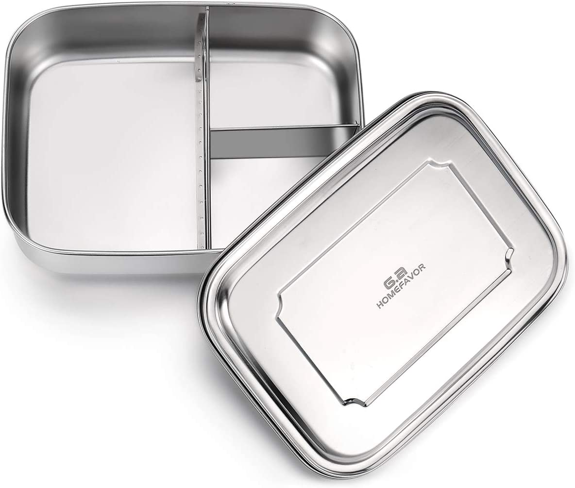Bento Box, G.a HOMEFAVOR Stainless Steel Bento Lunch Box 40 Ozs, 3-Compartment Food Container Pefect for Adults and Kids