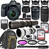 Canon EOS 6D Mark II DSLR Camera w/24-105mm STM Lens Bundle + Canon EF 75-300mm III Lens, Canon 50mm f/1.8, 500mm Lens & 650-1300mm Lens + Canon Backpack + 64GB Memory + Monopod + Professional Bundle