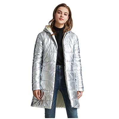 Sttech1 Women's Hooded DownJacket, Full Zip Hooded Light Weight Hip-Length Puffer Jacket Warmth Outerwear with Pockets at Women's Clothing store