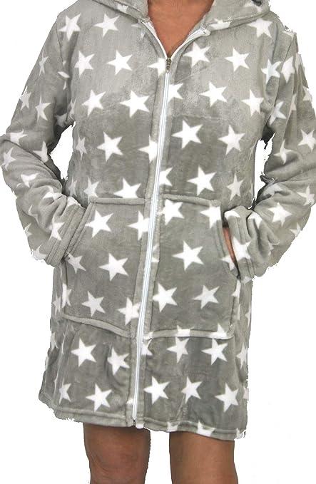 Bata o Albornoz Estrellas Mujer Coralina tacto Seda o Visón Homewear con Capucha (S /
